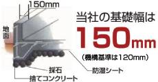 当社の基礎幅は150mm(機構基準は120mm)