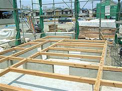 基礎工事出来型及び土台布設状況